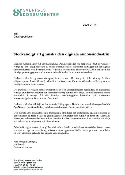 Sveriges Konsumenter kräver: Granska den digitala annonsindustrin